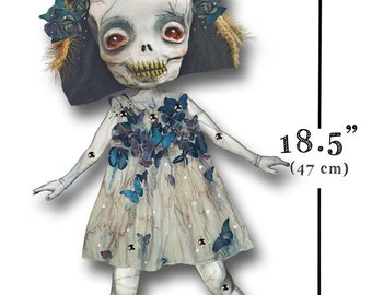 Celinne - BIGGER Paper Doll articulated - skull Halloween doll  - 18.5 inches (47 cm)- katrina skulls halloween props halloween decorations