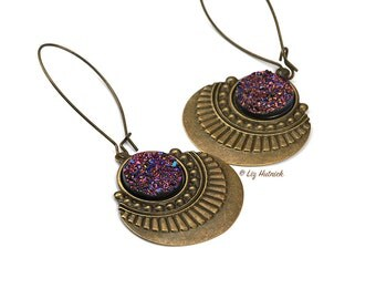 Faux Druzy and Bronze Dangle Earrings, Magenta Rainbow Glitter, Tribal, Boho Chic