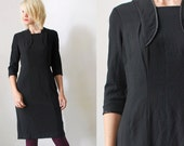 40s black dress. black crepe dress. wiggle dress - medium