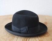 60s 70s black fedora. felt fur hat. wide brim fedora. size 55