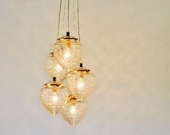 Glass Acorn Cluster Chandelier, 5 Clear Hanging Textured Shade Pendants With Brass Fittings
