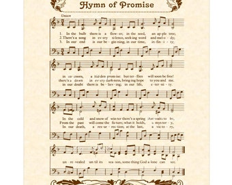 HYMN OF PROMISE - Inspirational Wall Art - Custom Christian Home Decor - VintageVerses Sheet Music - Hymn Wall Art - Natural Parchment Sepia