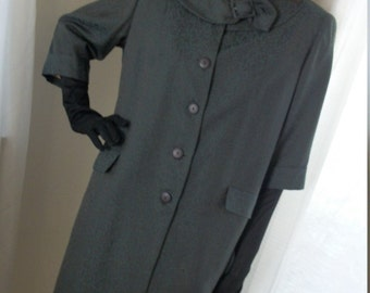 Vintage 1930s 1940s Jacquard Green Coat Amazing Great Cond Size M/L To Die For Find