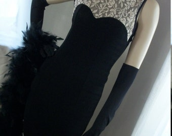 Vintage 1930s Style Goth Slinky Black Jersey and Lace Bodice Morticia Addams Style Dress Size S/M