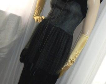 1940s Vintage Goth Film Noir Black Velvet Net Peplum Evening Gown Size S/M Gorgeous