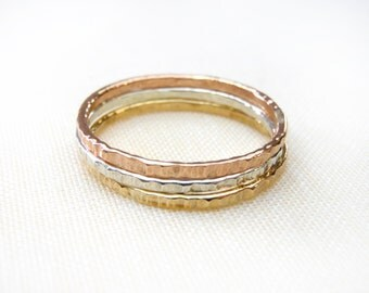 Mixed metals Thin Stacking rings, Set of 3, mixed metals, hammered rings, Gold, rose gold and silver stacking rings. Tri Color, Trio color