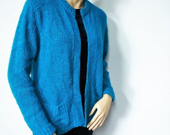 1980's Sweater Turquoise Cardigan Sweater Nubby Knit Sweater Grunge Slouchy Size Medium