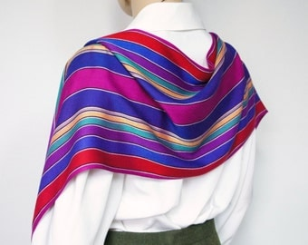 Vintage Scarf Shawl Multicolored Bright Oblong Fringed Scarf Scarves Striped Wrap
