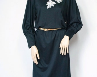1980's Black Dress Knit Dress Long Sleeved Dress Applique Little Black Dress Size 10