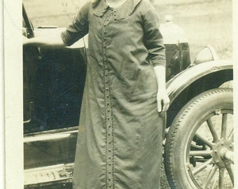 1920s Woman Standing Next to Model T Ford Car Button Front Dress 20s Antique Vintage Black and White Photo Photograph