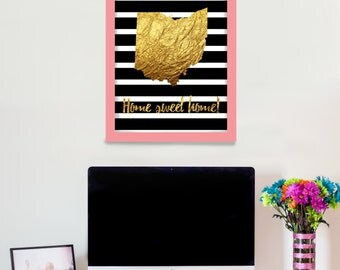 Personalized Custom Gold Leaf State Print, Home Sweet Home, State, print, Wall art,  Wall Decor, Home decor, Decoration, Black And White