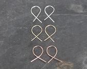 simple earrings, simple hoops, thin gold earrings, sterling silver, criss cross, fish hook, earrings, ribbon earrings, lightweight threaders
