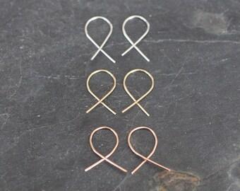 Minimalist Earrings, Open Hoops, Open Loops, Fish Hook Earrings, Hook Earrings, Dainty Earrings, Small Earrings,