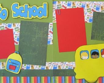 Scrapbooking Kit 2 Page Scrapbook Premade Layout School Bus