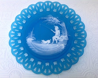 Artist L. Plues Handpainted Frosted Blue Plate