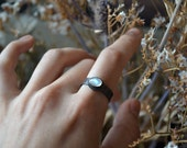 Full Moon Rainbow Moonstone Silver Ring- made to order