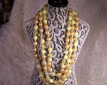 1950's Vintage Shades of Yellow Beaded Necklace, 3 Strand Bead Necklace, Bridal Estate Retro Jewelry, Something Old, Statement Centerpiece