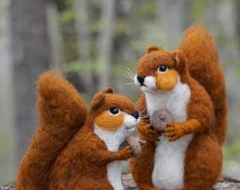 Needle felted Animal Mama - Red Squirrel Needlefelted Soft Sculpture Animal by Bella McBride