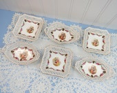 Set of 6 Vintage Nut Dishes - Schumann Bavaria Portrait Dresden - Pierced Rim