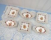 Set of 6 Vintage Nut Dishes - Schumann Bavaria Portrait Dresden - Pierced Rim