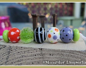 Halloween Balls Fall Lampwork Bead Set