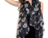 100% Cashmere Moon Phase Scarf. OOAK.