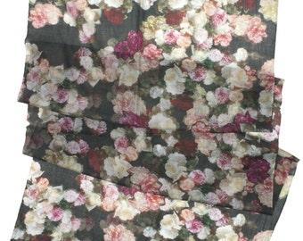 SALE. Floral Cashmere Wool Scarf. OOAK.