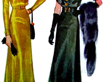 UNCUT * 1930s McCall Pattern 9509 * GLAMOROUS  Misses' Slim Evening Dress w/ Shirred  Sleeve Options   //  Bust 46 * RARE