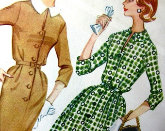 UNCUT * 1960's McCalls Pattern 5552  - Misses' and Women's Dress with Slim or Full Skirt * Size 16..bust 36