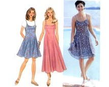 1990s Slip Dress Pattern Scoop Neck Fit and Flare Spaghetti Strap Short or Tea Length Simplicity 9682 Bust 32 34 36 Sewing Pattern