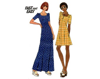 1970s Dress Pattern Scoop Neck Mini Maxi Fit and Flare Day Dress Short Sleeves Butterick 3633 Bust 34 Vintage Sewing Pattern