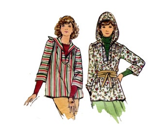 1970s Hooded Top Pattern Pullover Long Sleeve Tunic Fall Fashion Butterick 4445 Bust 34 Vintage Sewing Pattern Pullover or Zip Up