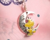 Woodstock Necklace Love you to the Moon Necklace pendant with Dangling Sweet Woodstock  Bird Charm