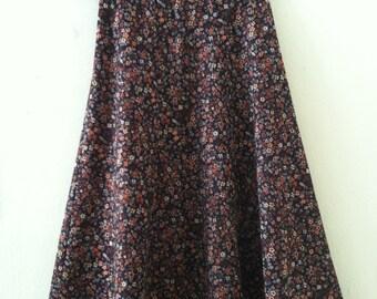 70's Floral Midi Skirt