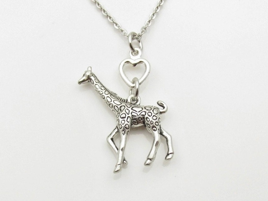 giraffe necklace large giraffe charm necklace antique silver