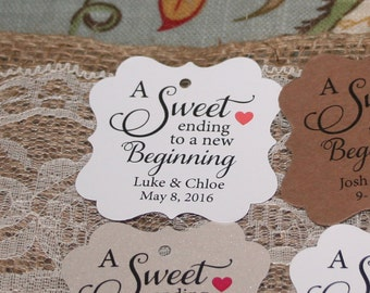 A Sweet Ending to a New Beginning Tags, Favor Tags, Wedding Favor Tags, Thank you tags, Kraft Tags, Favor Tags, Custom Tags Gift Tags