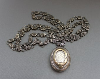 Victorian Silver Book Chain and Locket Necklace / Buckle Garter Belt / Wedding Necklace ETERNITY