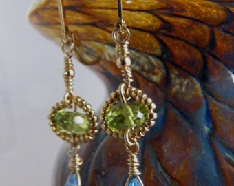 Perfect Paring - Bead Wrapped Peridot with Swiss Blue Topaz Earrings