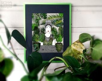 palm leaf art / tropical home decor / shopgirl / garden shop art / green leaves / urban jungle / botanical art / illustration // flora decor