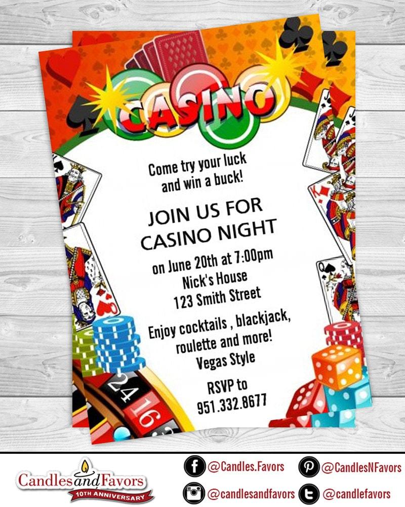 Casino Night - Royal Flush - Birthday Party Invitation ...