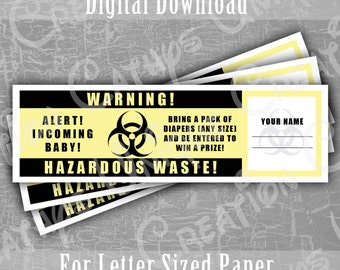 Hazardous Waste Baby Diaper Raffle Tickets Baby Shower Game Printable Biohazard Black Yellow Zombie New Dad Diapers INSTANT DIGITAL DOWNLOAD