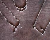 zodiac constellation choker necklace with rhinstone stars, bithday gift, bridesmaid gift