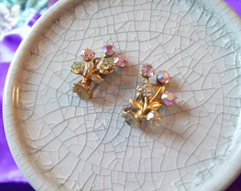 Vintage AB Rhinestone Flower Clip Earrings