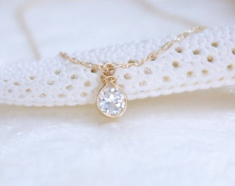 Diamond Solitaire Necklace in Solid 14k Yellow Gold - Ethical Conflict Free - Eco Friendly Recycled Gold Ready to Ship