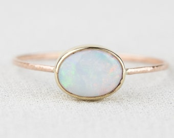 Natural AAA Opal Ring - Solid 14k Gold Simple Stack Ring with an Oval Genuine Fiery Australian White Opal - October Birthstone Orbital Ring