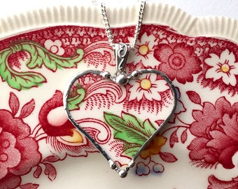 Broken China Jewelry Heart Pendant Vintage English Transferware red toile Valentines day