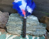 Feather Smudge Fan / Ceremonial Feather Fan / Ritual Feather Fan / Quartz Crystal / Native American / Wiccan / Pagan