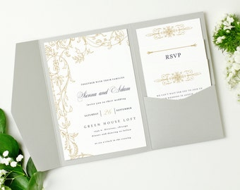 Pocket Wedding Invitation Template - INSTANT DOWNLOAD | Regatta | Edit in Word or Pages | Print it Yourself | Mac & PC