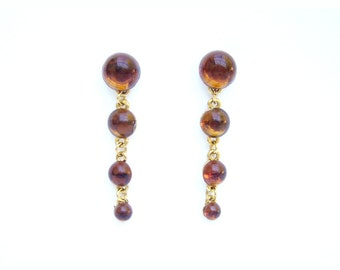 Vintage Amber Lucite Cabochon Gold Tone Dangle Pierced Earrings