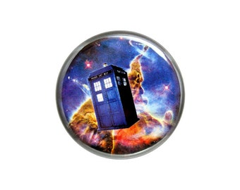 "Police Box Button, Pinback Button,  Small Badge, 1.25"" Button, Doctor Who Fan Button, TARDIS in Space - X16"